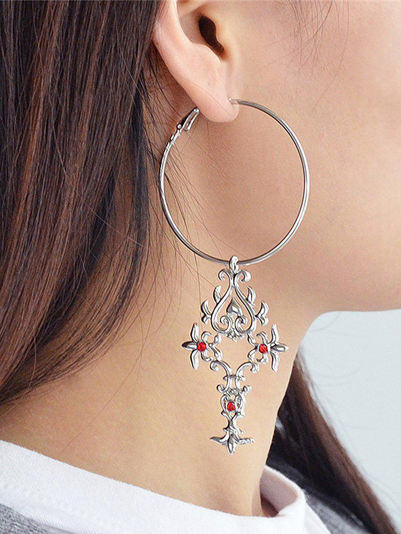 Antique Rhinestone Alloy Engraved Hoop Drop Earrings bow detail hoop drop earrings