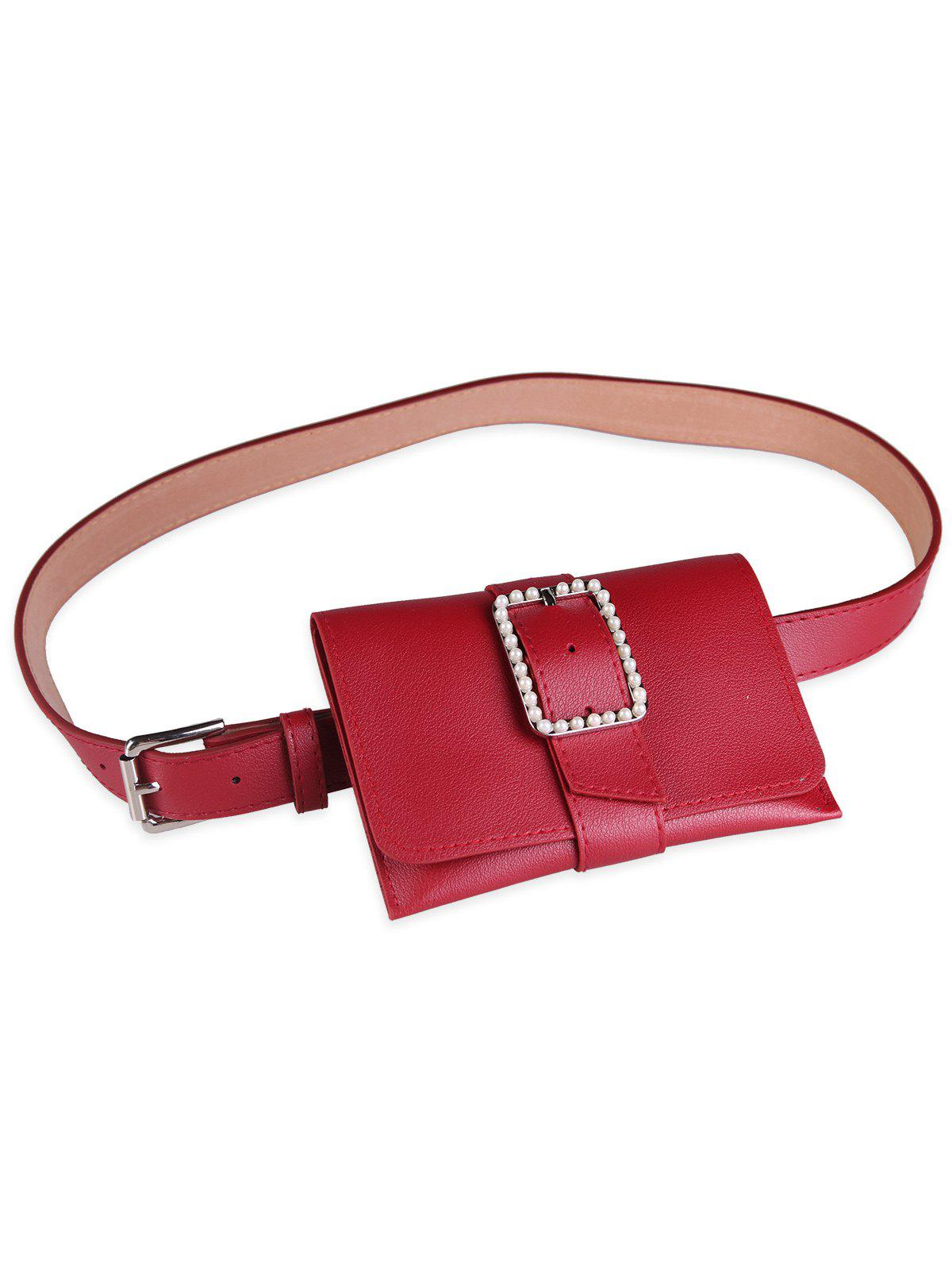 Faux Leather Belt Bag with Faux Pearl Decorated - RED