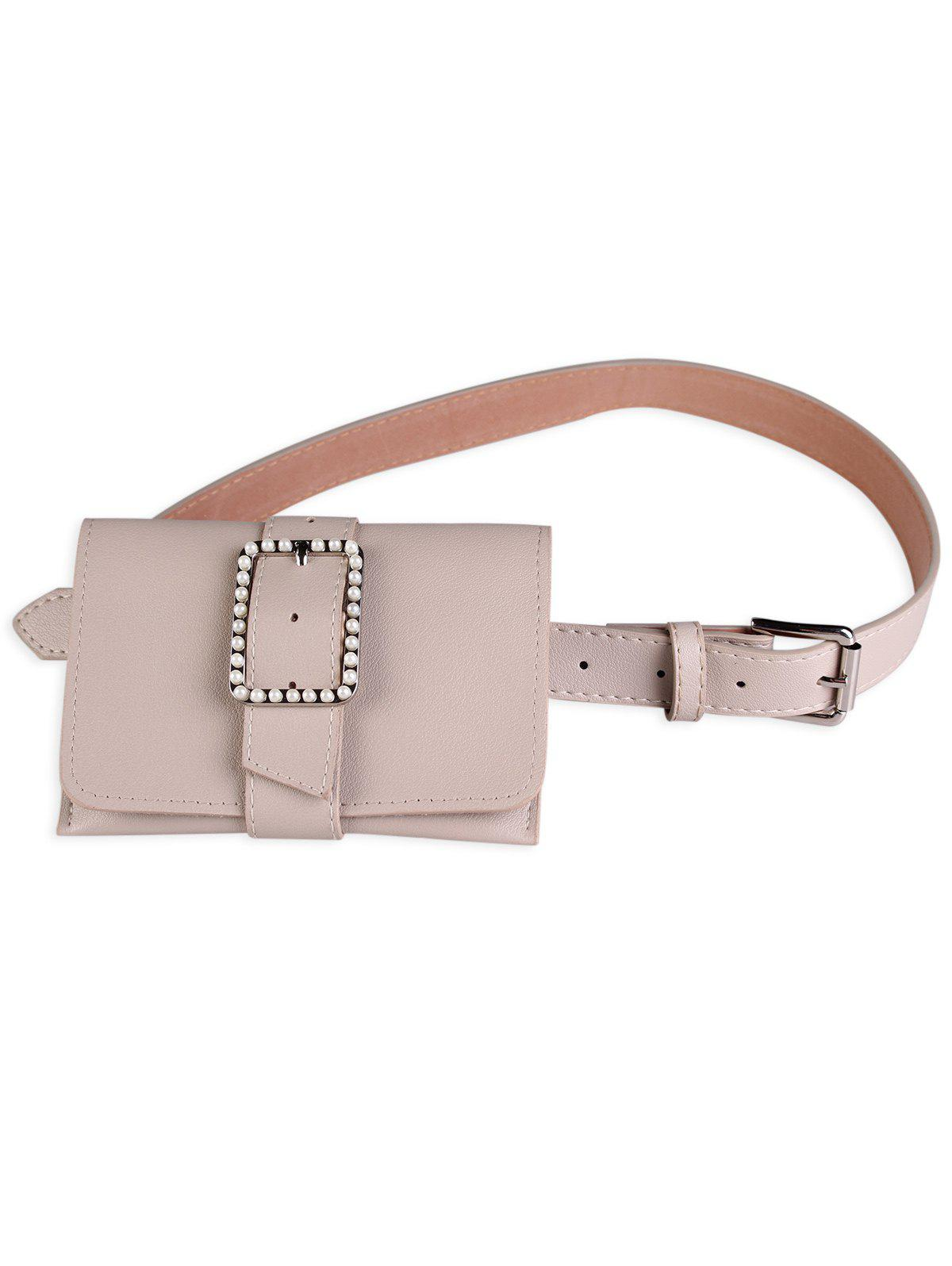 Faux Leather Belt Bag with Faux Pearl Decorated все цены