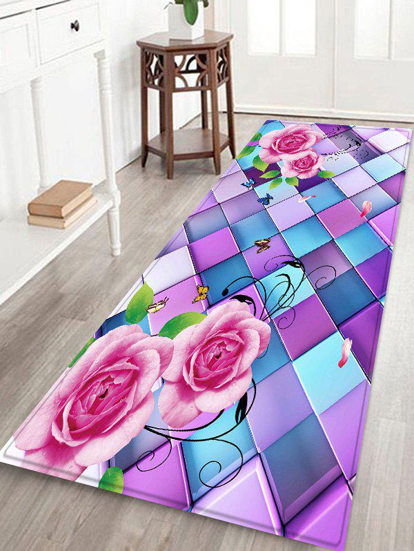 Rose with Colorful Plaid Print Bath Nonslip Floor Rug цена 2017