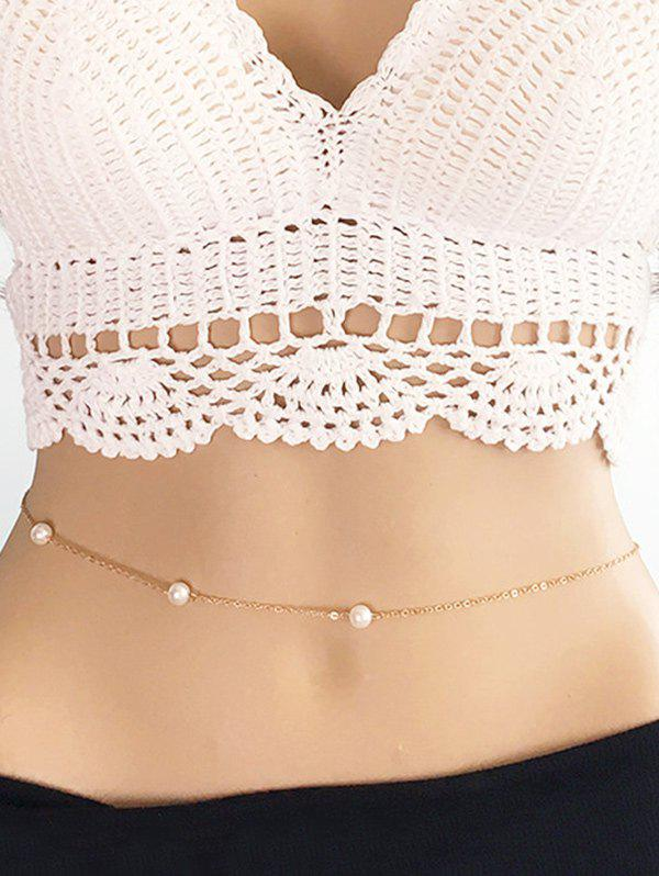 Simple Artificial Pearl Alloy Waist Chain - GOLD