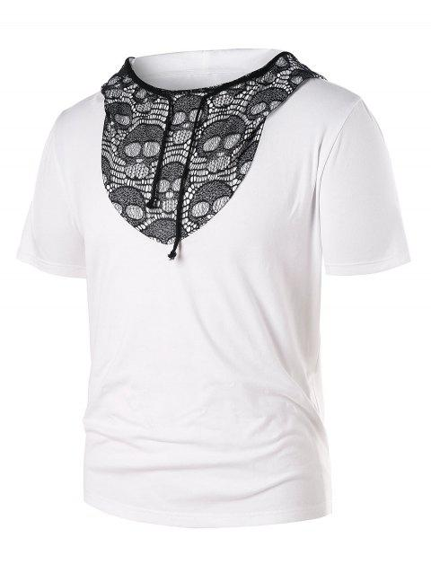 Short Sleeve Hooded Skull Lace Panel Tee - WHITE M