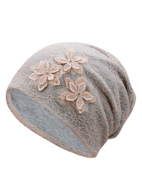 Vintage Flourishing Flowers Lace Slouch Beanie - LIGHT PINK