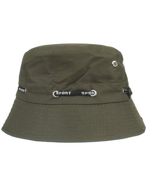 Line Embroidery Summer Bucket Hat - ARMY GREEN