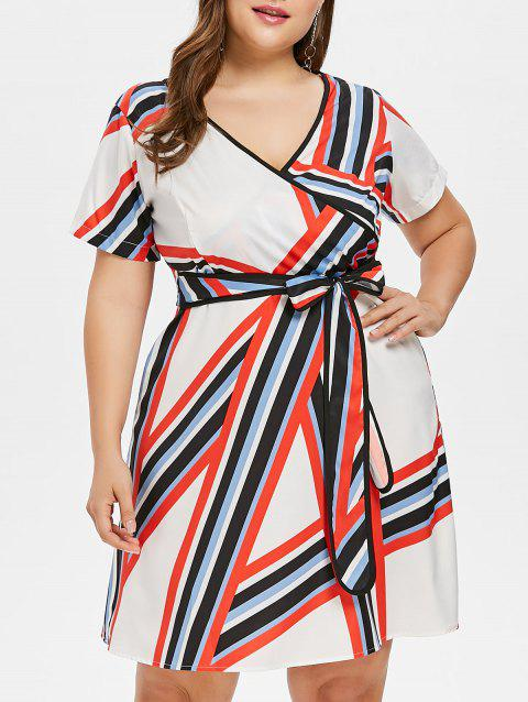 Plus Size Belted Striped Dress - multicolor 4X