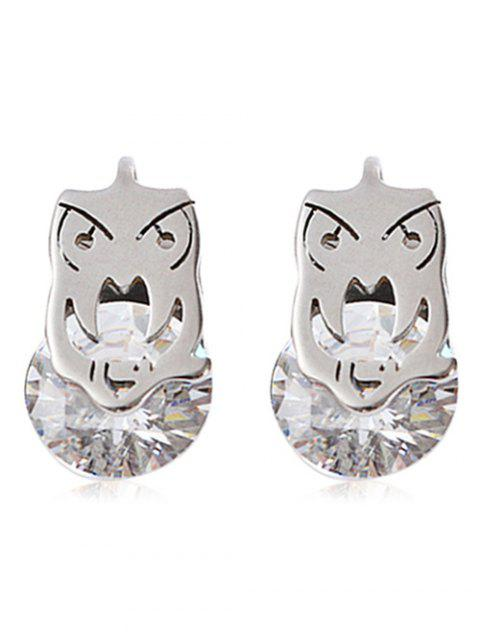 Simple Metal Rhinestone Owl Stud Earrings - SILVER