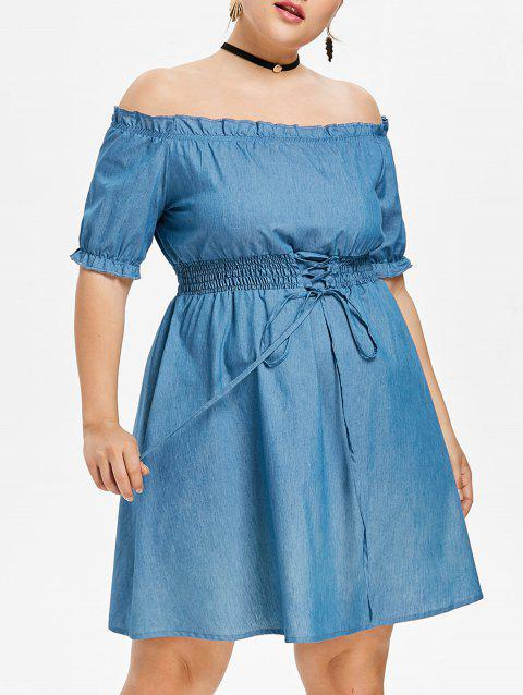 17 Off 2018 Plus Size Frill Lace Up Chambray Dress In Blue Angel L