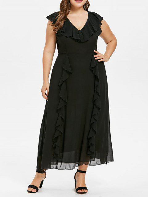 Plus Size Frill Chiffon Dress - BLACK L