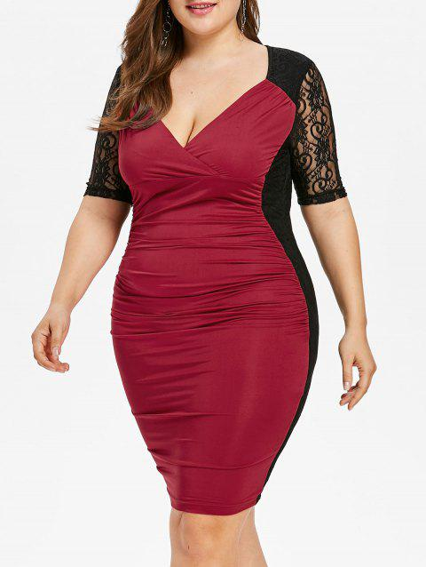 Plus Size Ruched Lace Panel Bodycon Dress - RED WINE 5X