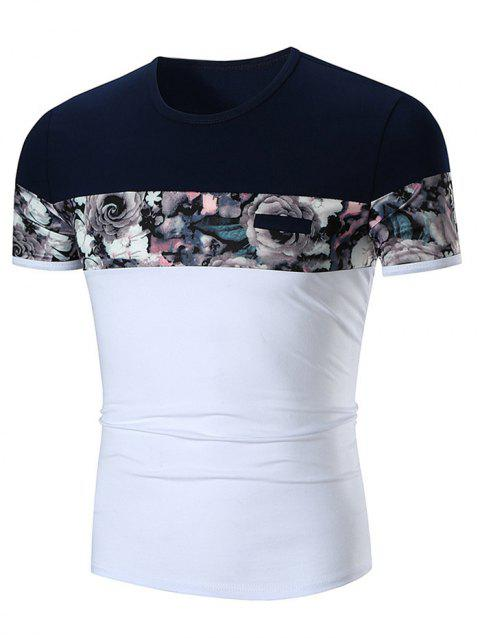 Crew Neck Faux Pocket Flower Print Panel T-shirt - WHITE L