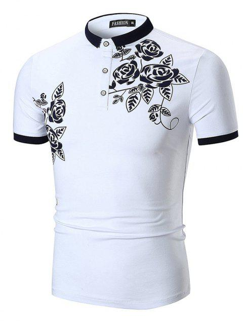 Flower and Leaves Print Slimming Polo Collar T-shirt - WHITE XL