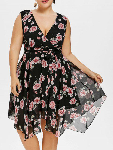 Sleeveless Belted Plus Size Floral Dress - BLACK 2X