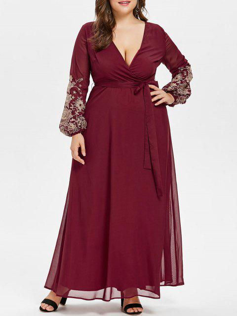 Plus Size Plunge Embroidery Maxi Dress - RED WINE 3XL