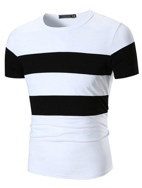 Crew Neck Wide Stripe Print Color Block T-shirt - WHITE L