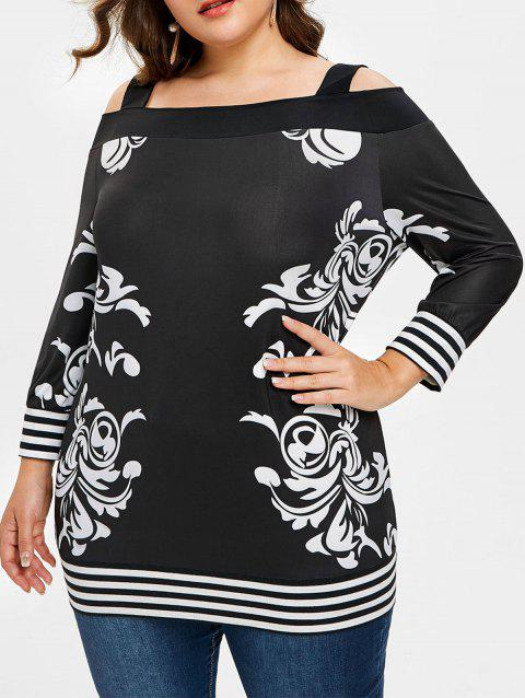 cedc095be6933 41% OFF  2019 Plus Size Striped Cold Shoulder Tunic T-shirt In BLACK ...