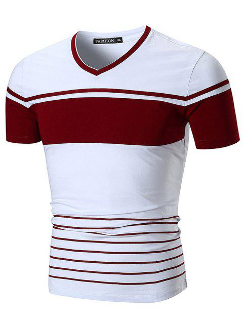 Short Sleeve Two Tone Wide Stripe Print T-shirt - RED M