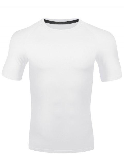 Fitted Stretchy Quick Dry Fitness T-shirt - WHITE 2XL