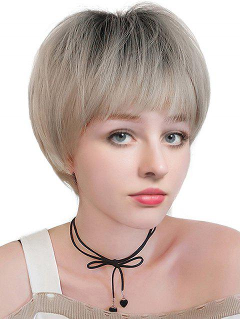 Short Neat Bang Colormix Straight Synthetic Wig - BLACK/GREEN LINEN GREY
