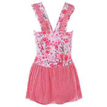 One Piece Flowered Skirted Swimwear - FLAMINGO PINK XL