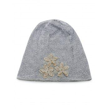 Vintage Flourishing Flowers Lace Slouch Beanie - GRAY CLOUD