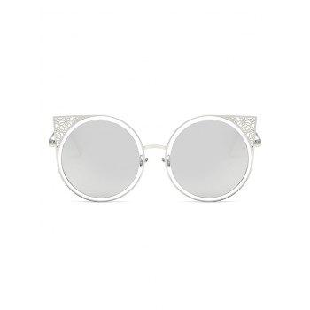 Anti Fatigue Hollow Out Metal Frame Round Sunglasses - PLATINUM