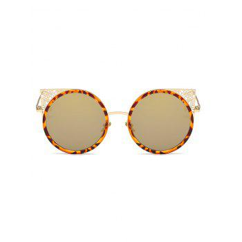 Anti Fatigue Hollow Out Metal Frame Round Sunglasses - ORANGE GOLD