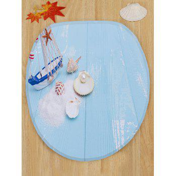Sailboat Shell Pearl Blue Wood Print Toilet Rug Set 3Pcs - SEA BLUE