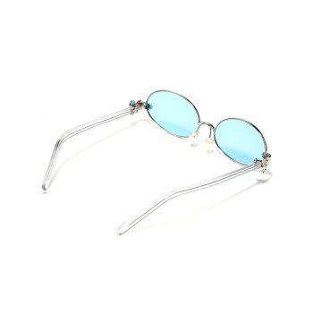Anti Fatigue Faux Pearl Oval Sunglasses - TRON BLUE