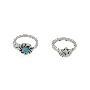 Shells Faux Turquoise Embellished 5 Pieces Ring - SILVER ONE-SIZE