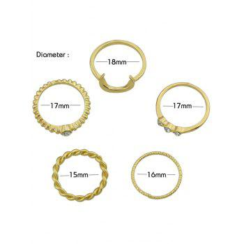 5 Pieces Faux Crystal Inlaid Ring Set - GOLD ONE-SIZE