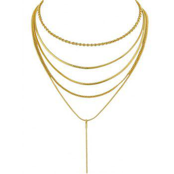 Alloy Multilayered Slim Chain Party Pendant Necklace - GOLD
