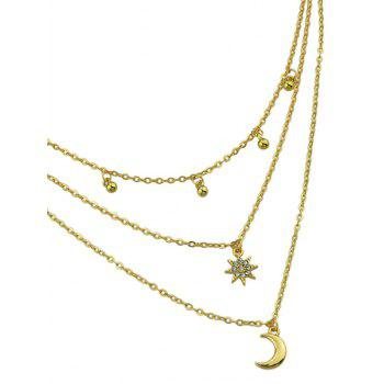 Three Layered Moon and Sun Pendant Necklace - GOLD
