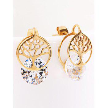 Simple Rhinestone Metal Tree of Life Stud Earrings - GOLD