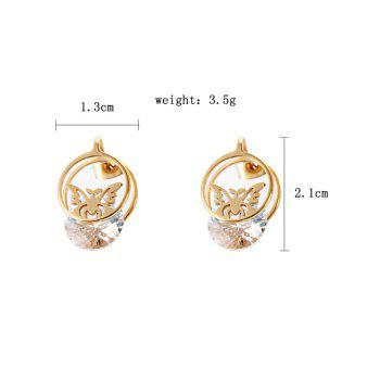 Metal Rhinestone Butterfly Round Tiny Earrings - GOLD