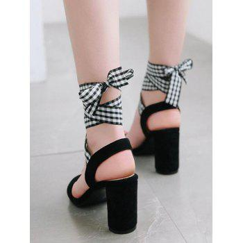 Block Heel Lace Up Plaid Sandals - BLACK 40