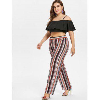 Plus Size Cami Crop Top and Wide Leg Pants - BLACK 4X
