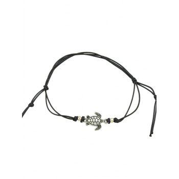 Tortoise Adjustable Knot Braided Rope Anklet - BLACK