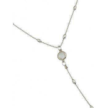 Alloy Faux Crystal Inlay Long Pendant Party Necklace - SILVER