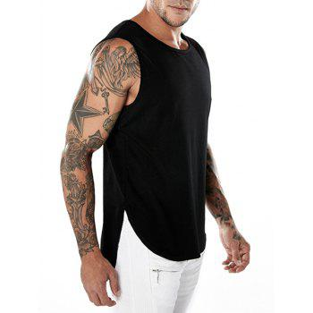 Split Hem Crew Neck Tank Top - BLACK L