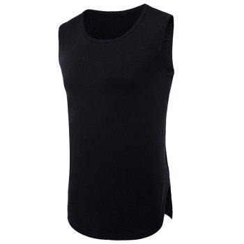 Split Hem Crew Neck Tank Top - BLACK XL