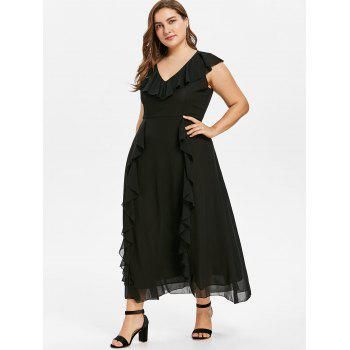 Plus Size Frill Chiffon Dress - BLACK 2X