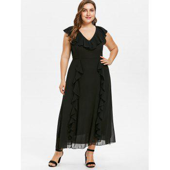 Plus Size Frill Chiffon Dress - BLACK 4X