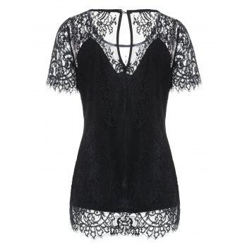 Slim Fit Lace T-shirt - BLACK 2XL