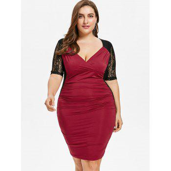 Plus Size Ruched Lace Panel Bodycon Dress - RED WINE 4X