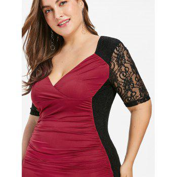 Plus Size Ruched Lace Panel Bodycon Dress - RED WINE 3X