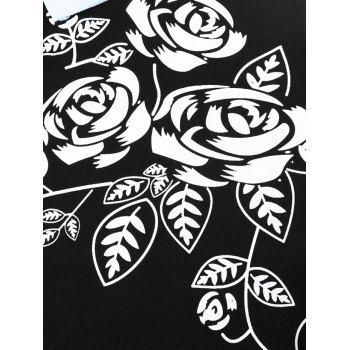 Flower and Leaves Print Slimming Polo Collar T-shirt - BLACK XL