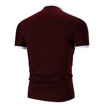 Flower and Leaves Print Slimming Polo Collar T-shirt - RED WINE M