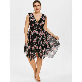 Sleeveless Belted Plus Size Floral Dress - BLACK 3X