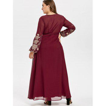 Plus Size Plunge Embroidery Maxi Dress - RED WINE XL