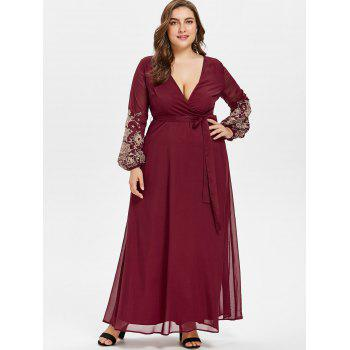 Plus Size Plunge Embroidery Maxi Dress - RED WINE 5XL